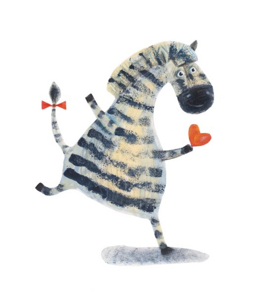 Zebra with heart. Watercolor illustration. Hand drawing